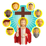 All Saints Day Illustration. Illustration Of Jesus Crucified with All Saints People Royalty Free Stock Photos