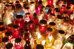All Saints Day lights. All Saints Day grave lights, a Polish tradition Stock Photography