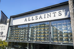 All Saints store in Beverly Hills - LOS ANGELES - CALIFORNIA - APRIL 20, 2017 royalty free stock photo