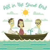 All in The Same Boat Illustration Royalty Free Stock Photography