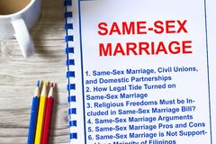 All about same-sex marriage concept. All about same-sex marriage- pros and cons information- on a coversheet of a lecture Stock Photos