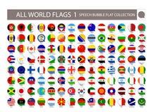 All samling för lägenhet för bubbla för världsflaggaanförande Del 1 All värld royaltyfri illustrationer