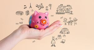 Saving money piggy bank for dreams royalty free stock images