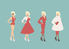 All-season Glamour. Vector 'quad' with a retro, pin-up style woman, with one outfit for each season of the year Royalty Free Stock Photo