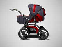 All season stroller for child with red accents with pockets 3d render on gray background with shadow. All season stroller for child with red accents with pockets vector illustration
