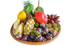 All season Thailand tropical fruits on white background with clo Stock Photos
