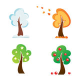 All season tree icons Stock Photos