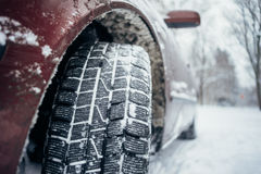 All-season tyre or mud and snow tire. Closeup on protector Stock Image