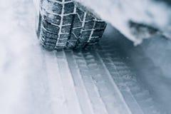 All-season tyre track on snow Stock Image