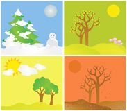 All Seasons. All the four seasons together stock illustration