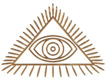 All Seeing Eye. On white background. 3D royalty free illustration