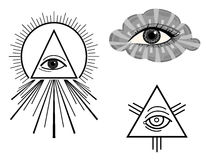 The All Seeing Eye. The Eye of Providence - symbols. Vector illustration saved as EPS AI 8, is now pending DT inspection Stock Photos