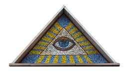 All-seeing eye. A mosaic of smalt isolated on a white background royalty free stock image