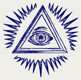 All seeing eye. Doodle style. Vector stock illustration