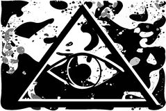 All-Seeing Eye on abstract black background. Illustration representing a version of one of the most esoteric symbol: the All-Seeing Eye Royalty Free Stock Photography
