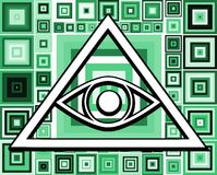 All-Seeing Eye on abstract colorful background Stock Photo