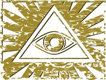 All-Seeing Eye on abstract colorful background. Illustration representing a version of one of the most esoteric symbol: the All-Seeing Eye Stock Image