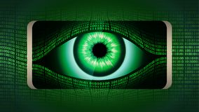 The all-seeing eye of Big brother in your smartphone, concept ofconcept of permanent global covert surveillance. The all-seeing eye of Big brother in your Stock Images