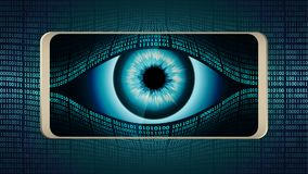 The all-seeing eye of Big brother in your smartphone, concept of permanent global covert surveillance using mobile devices. Security of computer systems and Stock Images