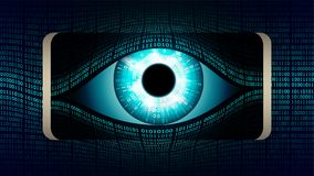 The all-seeing eye of Big brother in your smartphone, concept of permanent global covert surveillance using mobile devices