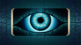 The all-seeing eye of Big brother in your smartphone, concept of permanent global covert surveillance using mobile devices. Security of computer systems and Royalty Free Stock Photography