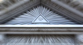 All seeing eye. On a building with motion blur royalty free stock image