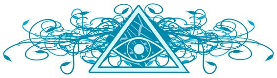 All-Seeing Eye on colorful decoration. Illustration representing a version of one of the most esoteric symbol: the All-Seeing Eye Royalty Free Stock Photo