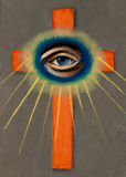 All Seeing Eye with Cross Stock Photo
