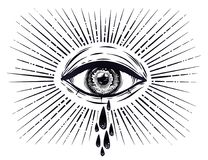 All seeing eye crying watery tears. Sadness look. Alchemy, religion, spirituality, occultism, tattoo art. Isolated vector illustration. Conspiracy theory Royalty Free Stock Photos