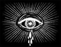 All seeing eye crying watery tears. Sadness look. Alchemy, religion, spirituality, occultism, tattoo art. Isolated vector illustration. Conspiracy theory Royalty Free Stock Photography