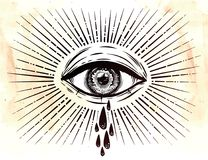 All seeing eye crying watery tears. Sadness look. Alchemy, religion, spirituality, occultism, tattoo art. Isolated vector illustration. Conspiracy theory Royalty Free Stock Images