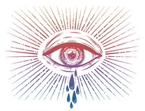 All seeing eye crying watery tears. Sadness look. Alchemy, religion, spirituality, occultism, tattoo art. Isolated vector illustration. Conspiracy theory Stock Images