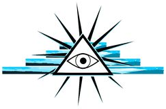 All-Seeing Eye on decoration isolated. Illustration representing a version of one of the most esoteric symbol: the All-Seeing Eye Stock Photography