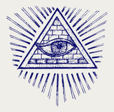 All seeing eye. Doodle style stock illustration