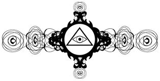 All-Seeing Eye on elegant decoration isolated. Illustration representing a version of one of the most esoteric symbol: the All-Seeing Eye Stock Image