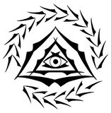 All-Seeing Eye on elegant decoration isolated. Illustration representing a version of one of the most esoteric symbol: the All-Seeing Eye Royalty Free Stock Photo