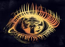 All seeing eye with fantastic Alien Spaceship. UFO abduction of a human with flying saucer. Conspiracy theory concept, tattoo art. Isolated vector illustration Royalty Free Illustration