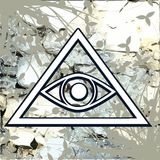All-Seeing Eye on floral abstrct background Stock Photography