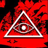 All-Seeing Eye on floral red background. Illustration representing a version of one of the most esoteric symbol: the All-Seeing Eye Royalty Free Stock Photography