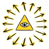 All seeing eye - God. Hand drawn style vector illustration of god`s eye in a pyramid symbol - the all seeing eye, providence. Editable vector file available Stock Photography