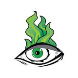 The All Seeing Eye - Green Firey Flame Illuminati Freemasonry Vector. Art Stock Photography