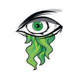 The All Seeing Eye - Green Firey Flame Illuminati Freemasonry Vector. Art Royalty Free Stock Photography