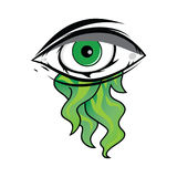 The All Seeing Eye - Green Firey Flame Illuminati Freemasonry Vector. Art Royalty Free Stock Image
