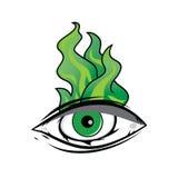 The All Seeing Eye - Green Firey Flame Illuminati Freemasonry Vector. Art Stock Images