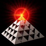 All Seeing Eye (Hi-Res). Golden All Seeing Eye financial pyramid abstract. Bright red burning on top. Leadership concept. This is a detailed 3D render. Isolated Stock Photo