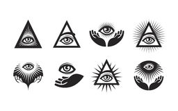 All Seeing Eye icons set. Illuminati symbol stock illustration