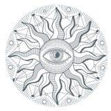All seeing eye illuminati new world order vector freemasonry sign. Illustration of illuminati freemasonry symbol Royalty Free Stock Image