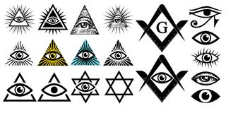 All seeing eye. Illuminati symbols, masonic sign. Conspiracy of elites. The Jewish Star Sign of David. New world order. Vector illustration set stock illustration