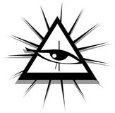 All-Seeing Eye in black and white isolated. Illustration representing a version of one of the most esoteric symbol: the All-Seeing Eye Royalty Free Stock Image