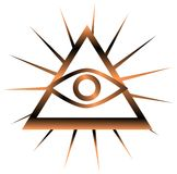 Colorful All-Seeing Eye isolated. Illustration representing a version of one of the most esoteric symbol: the All-Seeing Eye Stock Photography